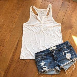 American Eagle Outfitters Cream racerback tank m